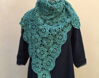 Large Cotton Green Floral Shawl, Crochet