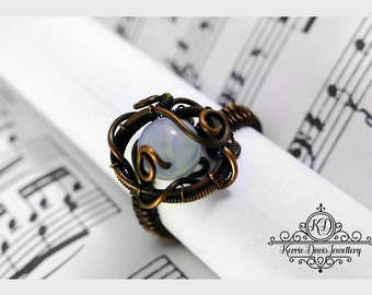 Steam Punk Inspired Oxidised/Antiqued  Copper Wire Wrapped ring with Moonstone S-W (9 - 11.5 US)