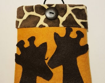 """iPad Cover,Giraffe Phone Sleeve,iPad Case,Kindle Case,Cover for 7""""Tablet,Reader Cover,iPad Sleeve,Unique Case,Felt case,Kindle Sleeve,Gift"""