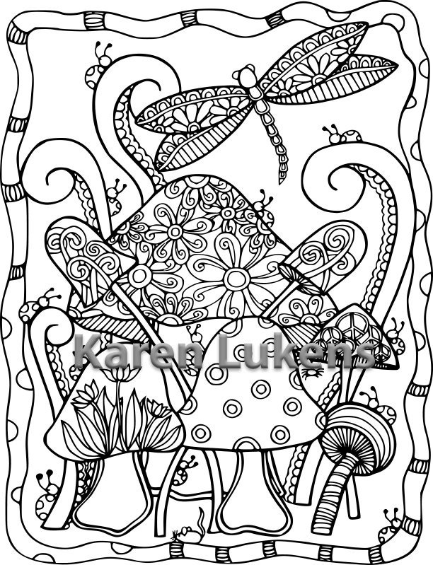 Dragonfly Mushies 1 Adult Coloring Book Page Printable Instant Download