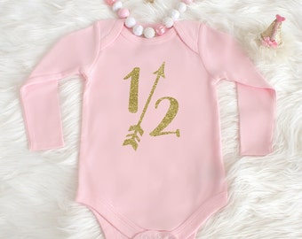 Half birthday outfit - 6 month birthday outfit - 1/2 Birthday bodysuit - Baby girl half birthday - Six month old long sleeve baby one piece