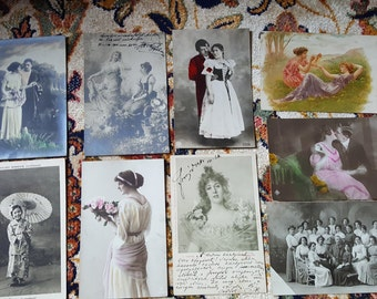 Lot of Antique Postcards Laidys Love from the 1900-1930s
