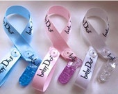 Baby girls boys dummy clip pacifier clip  baby dior designer ribbon handmade posh baby baby bling newborn baby dummy saver posh tots