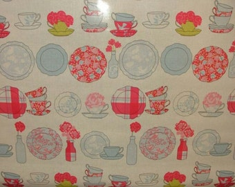 teacups and saucers oilcloth tablecloth in bluebell