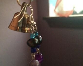 Black pearl and Amethyst Earrings