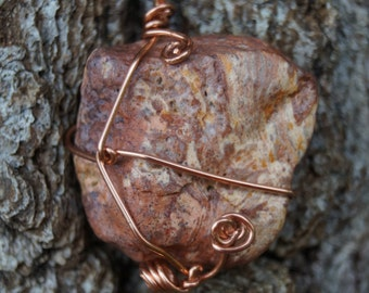 Natural Stone and Copper Wire Pendant