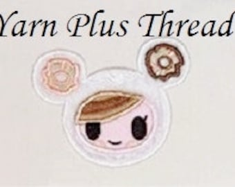 Donut Girl Applique 4x4 and 5x7  Embroidery Design