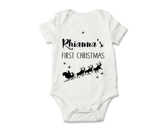 Personalised First Christmas Baby Grow, Baby's First Christmas Bodysuit, Baby Onesie, Baby Clothing - PM009