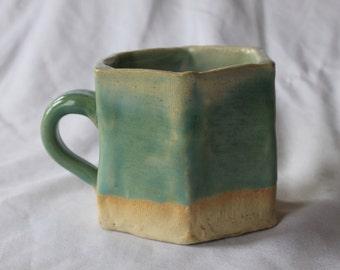 small hexagon mug (teal ombre)