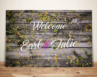 Wood Wedding Sign Look | Wood | Welcome Sign | Party Sign | Available As A Printable File, Poster, Mounted on Foam Board, or on Canvas