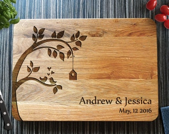 Wedding Tree Cutting Board, Personalized Custom Engraved Wedding Gift. Christmas Gift, Bridal Shower Gift, Couple Gift, Valentines Day