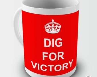Dig For Victory Keep Calm And Carry On Ceramic Novelty Mug