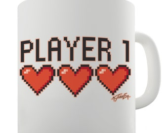 Player 1 Hearts Ceramic Funny Mug