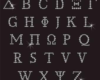 Greek Alphabet Letter Diamante Motif