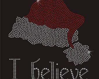 Christmas I Believe Iron On Rhinestone Transfer