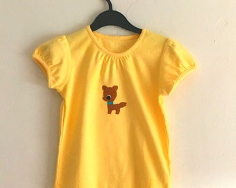 Vintage 1970s cute felt applique animals; 2-3 or 4-5 years yellow t-shirt with baby deer/fawn applique