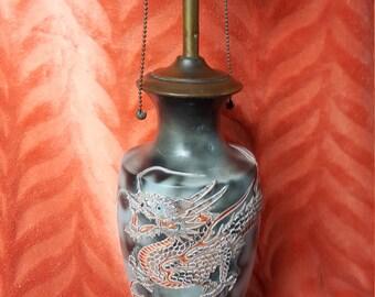 Dragonware Lamp-Orange Dragon Double Socket