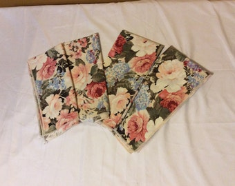 Large Floral Cloth Dinner Napkins Set of 4