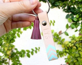 Aztec Mint Leather Keychain, Mint Leather Keychain, Mini Tassel Leather Keychain, Personalized Keychain, Custom Leather Keyfob, Custom Name