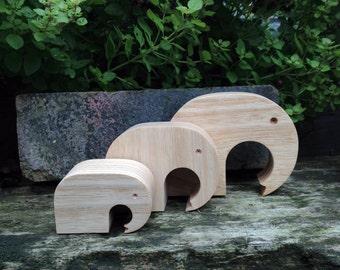 Elephants - 3 Handmade solid wood Elephants
