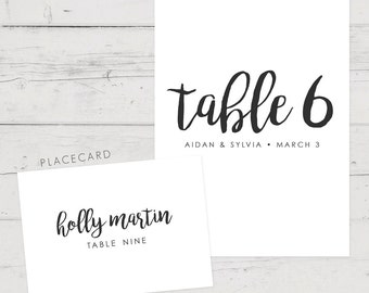 Printable place card and table number set, Printable place cards, Printable table numbers