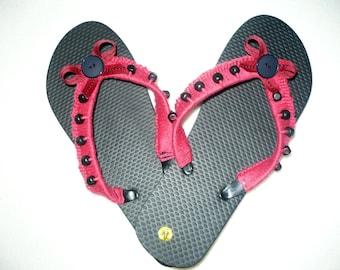 Flip Flops, crocheted and beaded