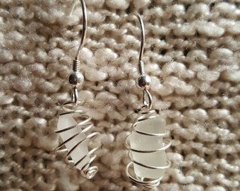 Caged beach glass earrings - Sterling silver