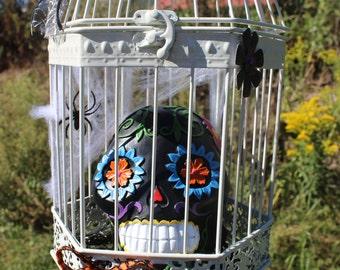 Halloween Bird Cage, Decorative Bird Cage, Halloween Decoration, Halloween Decor, Halloween, Skull Decoration, Birdcage, Home Decor, Skull
