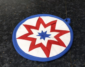 """Red White And Blue Amish Star Design 7"""" Hot Pad / Heat Resistant Mat"""