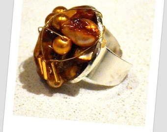 Sassy Gold and Brown Adjustable Hand Made Ring