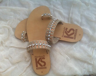 Greek sandals with cord and shiny stones