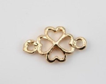 Lot 5 Clovers 2 rings gold plated 7 mm x 12 mm