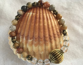 Beaded Stretch Bracelet Earthtone