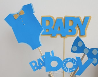 Baby shower party, 11 piece of Baby, onesie,bowtie and boy cutouts, tabledecoration, centrepiece