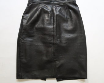 Beautiful Black Vintage High Waisted Real Leather Pencil Skirt With Back Slit