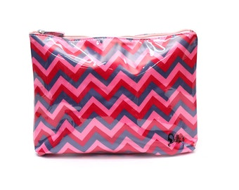 Pink ZigZag Cosmetic Bag Case Makeup Travel Toiletries