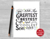 """Printable Birthday Card For Son - Most Coolest Son Ever - 5""""x7""""- Includes Printable Envelope Template - Instant Download"""