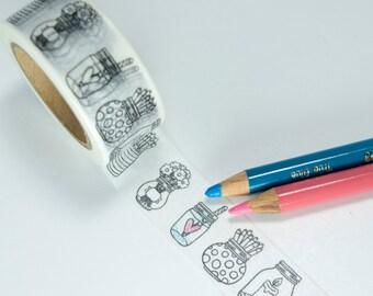 Coloring Book Washi Tape - Mason Jars Washi Tape, Vase Washi Tape, Cute planner tape