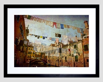 Photo Clothes Lines Venice Washing Line Laundry Art Print Poster Picture FEBMP584B