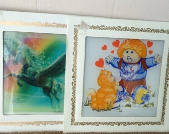 Square glass art, with carton frame, Cabbage patch kids, and Pegasus by Custom Images Inc