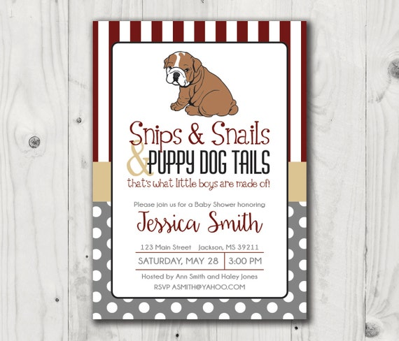Baby Shower invitation Mississippi State Bulldog