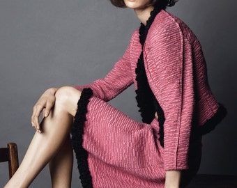 Pink wool tweed fabric from Haute Couture / Tweed de laine mélangée Nina R. Haute Couture