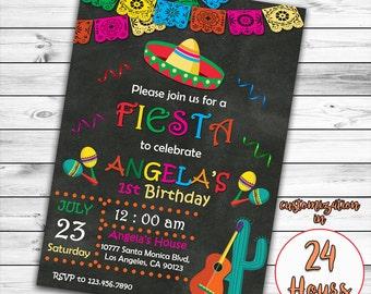 Fiesta Fun Birthday Invitation, Fiesta Fun Invitation, Cinco De Mayo Invitation, Mexican Party Invitation, Chalkboard Invitation, Printable