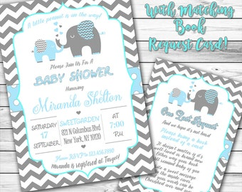 Elephant Baby Shower Invitation, Blue Elephant Invitation, Boy Baby Shower, Elephant invitation, Blue and Gray, Navy Blue, Book instead 22