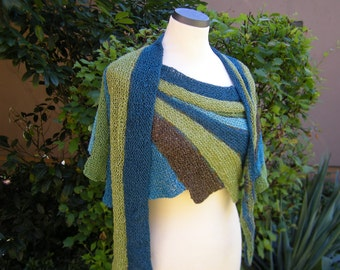 Hand knit shawl stole scarf Fächerschal teal green