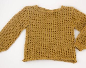 Hand Knitted Alfas Jumper | Mustard