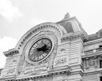Paris Photography, Musée d'Orsay Clock, Black and White Art Print, Paris Print, Home Decor, Paris Decor