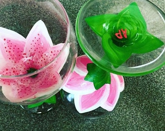 Hand Painted Pink Lily Wine Glass