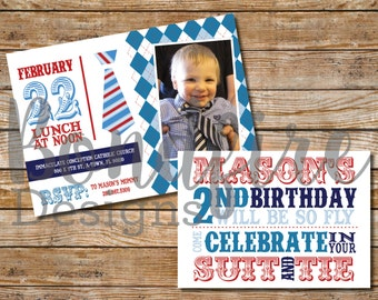Suit and Tie Birthday Invitation - Printable