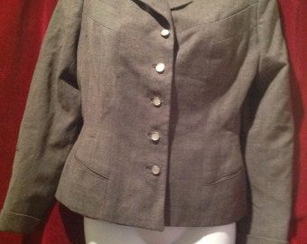 1950's Gaberdine Grey Jacket / Label - National Recovery Board - Coat and Suit INDUSTRY